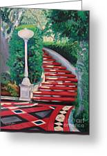 Castle Patio 2 Greeting Card by Milagros Palmieri