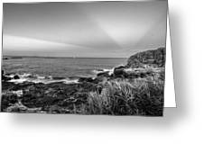 Castle Rock Beach Sunset Sunrays Marblehead Ma Black And White Greeting Card