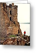 Castle Ruins On The Seashore In Ireland Greeting Card