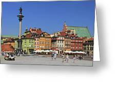 Castle Square And Sigismund's Column Warsaw Poland Greeting Card