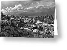 Castlewood Canyon And Storm - Black And White Greeting Card