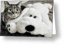 Cat And Dog In B W Greeting Card