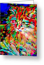 Cat By Fauvism Greeting Card