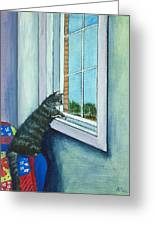 Cat By The Window Greeting Card