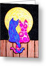 Cat Couple Full Moon Greeting Card