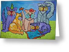 Cat Family Gathering Greeting Card