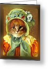Cat In Bonnet Greeting Card