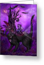 Cat In Goth Witch Hat Greeting Card