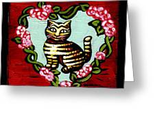 Cat In Heart Wreath 2 Greeting Card