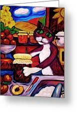 Cat In The Kitchen Bottling Fruit Greeting Card