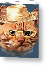 Cat Kitty Kitten In Clothes Yellow Glasses Straw Greeting Card