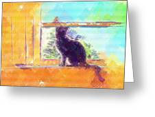 Cat Looking Out The Window Greeting Card