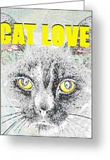 Cat Love Yellow Work Greeting Card