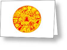 Cat Mandala Yellow And Red Greeting Card