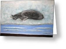 Cat On A Cloud Greeting Card