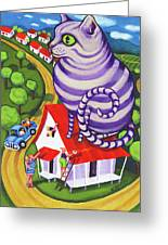 Cat On A Red Tin Roof Greeting Card