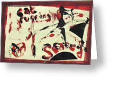 Cat Running Scared 5 Greeting Card