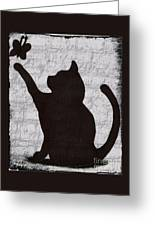 Cat  Shadow  And Butterfly  Greeting Card
