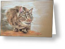 Cat Sitting On Lookout Greeting Card