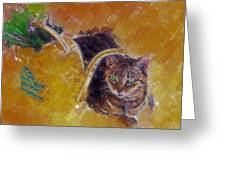 Cat With Watering Can Greeting Card