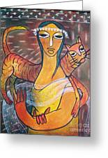 Cat With Woman Greeting Card