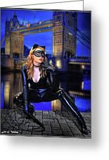 Cat Woman In London Greeting Card
