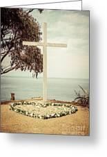 Catalina Island Cross Picture Retro Tone Greeting Card