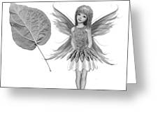 Catalpa Tree Fairy With Leaf B And W Greeting Card