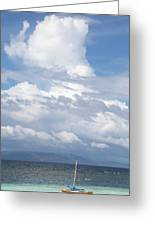 Catamaran Beach Clouds Greeting Card
