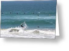 Catching Air In Huntington Beach California Greeting Card