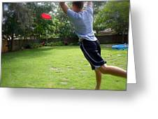 Catching Frisbee Greeting Card