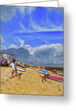 Catching The Ball, St Ives Greeting Card