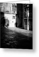 Catching Up On The News In Tarragona Spain Bw Greeting Card