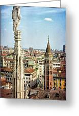 Cathedral And Campanile Milan Italy Greeting Card