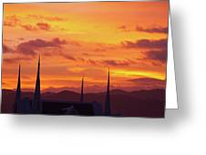 Cathedral Church Sunset Greeting Card
