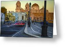 Cathedral From Campo Del Sur Cadiz Spain Greeting Card