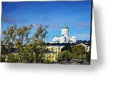 Cathedral Landmark And Central Helsinki View In Finland Greeting Card