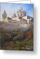 Cathedral Mdina Greeting Card by Raymond Frans