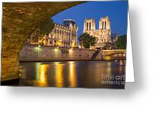 Cathedral Notre Dame And River Seine - Paris Greeting Card
