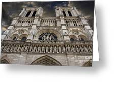 Cathedral Notre Dame Of Paris. France   Greeting Card by Bernard Jaubert