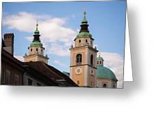 Cathedral Of St Nicholas In Ljubljana Greeting Card