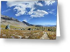 Cathedral Peak Over Waterton Valley Trail - Glacier National Park Greeting Card