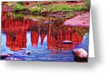 Cathedral Rock Reflection Painterly Greeting Card