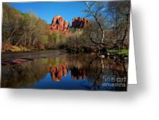 Cathedral Rock Reflection In Oak Creek Greeting Card