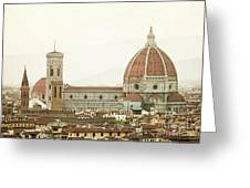 Cathedral Santa Maria Del Fiore At Sunset, Florence. Greeting Card