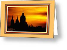 Cathedral Silhouette Sunset Fantasy L A With Alt. Decorative Ornate Printed Frame. Greeting Card