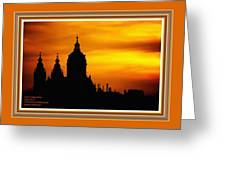 Cathedral Silhouette Sunset Fantasy L A With Decorative Ornate Printed Frame. Greeting Card