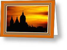 Cathedral Silhouette Sunset Fantasy L B With Decorative Ornate Printed Frame. Greeting Card