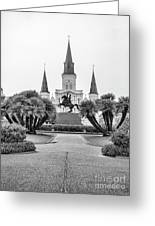 Catholic Basilica Jackson Sq Andrew Jackson New Orleans  Greeting Card