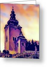 Catholic Church Building, Architectural Dominant Of The City, Graphic From Painting. Greeting Card